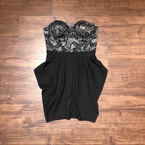 Black and Lace Strapless Sweetheart Peplum Dress